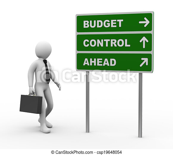 3d businessman budget control ahead roadsign - csp19648054