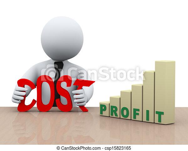 3d businessman cost reduction concept - csp15823165
