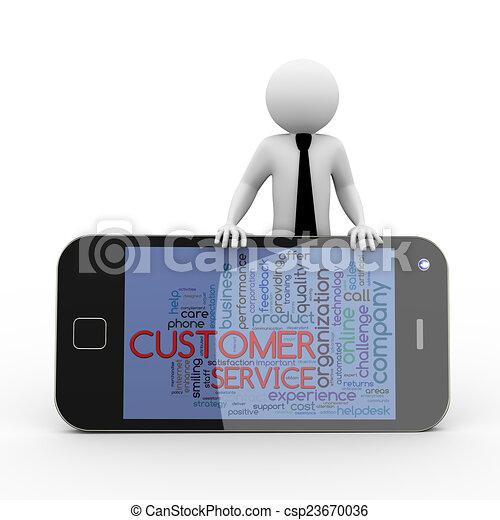 3d businessman customer service wordcloud mobile - csp23670036