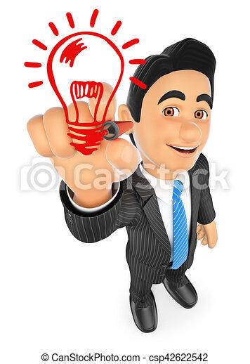 3d businessman drawing a light bulb idea concept 3d drawing rh canstockphoto com