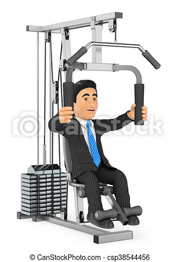 3D Businessman exercising in a weight machine - csp38544456