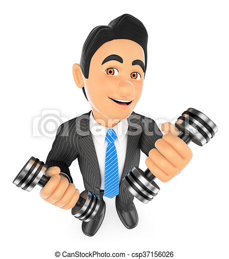 3D Businessman exercising with two dumbbells fitness. Overcoming - csp37156026