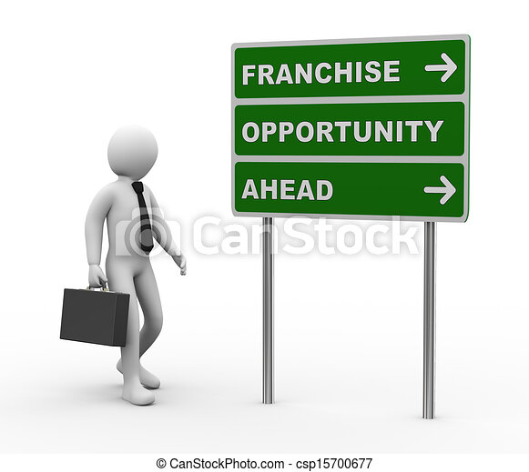 3d businessman franchise opportunities roadsign - csp15700677