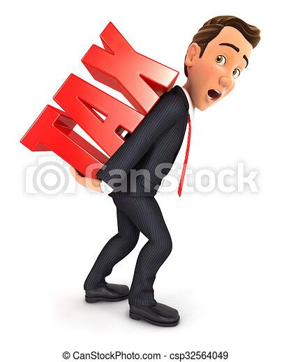 3d businessman heavy tax 3d businessman carrying heavy tax rh canstockphoto ca