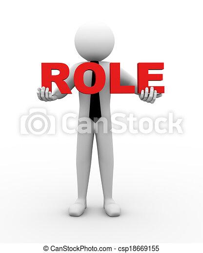 3d businessman holding role illustration - csp18669155
