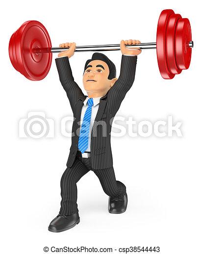 3D Businessman lifting weights - csp38544443