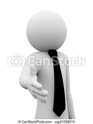 3d businessman offer hand shake illustration - csp21039015