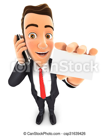 3d businessman on the phone - csp31639426