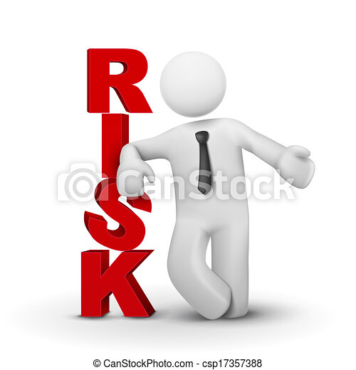 3d businessman presenting concept word risk - csp17357388