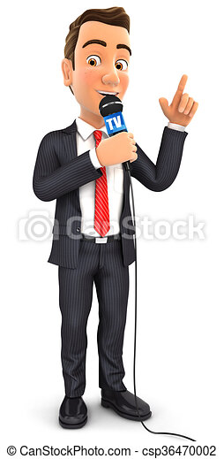 3d businessman reporter with microphone - csp36470002