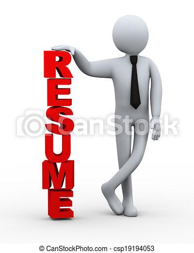 3d businessman resume word presentation 3d illustration of