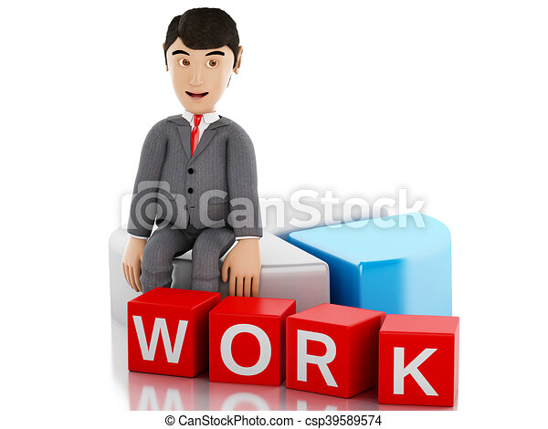 3d Businessman sitting on a info graph and the word work. - csp39589574