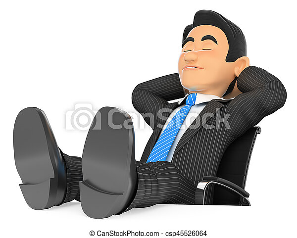Miraculous 3D Businessman Sleeping With Eyes Closed And Feet Up Unemploymentrelief Wooden Chair Designs For Living Room Unemploymentrelieforg