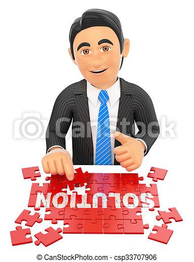 3D Businessman solving a puzzle. Solution concept - csp33707906
