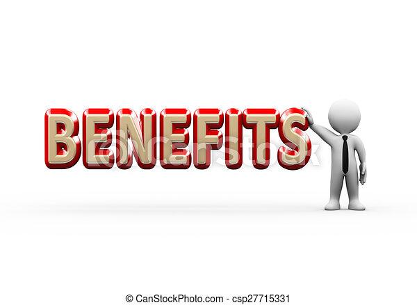 3d businessman standing with benefits - csp27715331