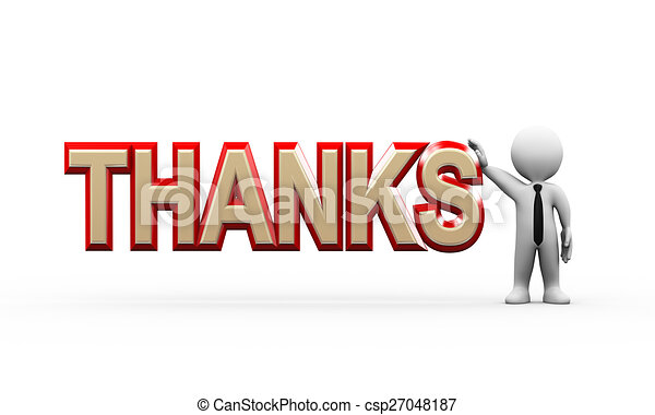 3d businessman standing with thanks - csp27048187