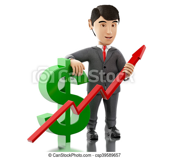 3d Businessman with a dollar sign and growth graph. - csp39589657