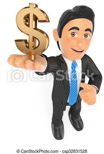 3D Businessman with a gold dollar symbol - csp32831528