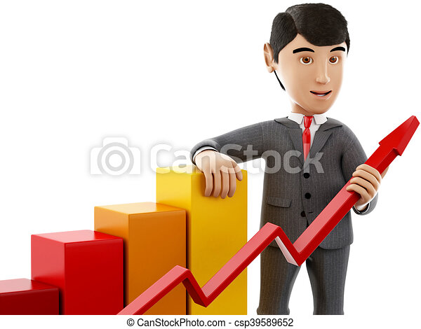 3d Businessman with a growth graph. - csp39589652