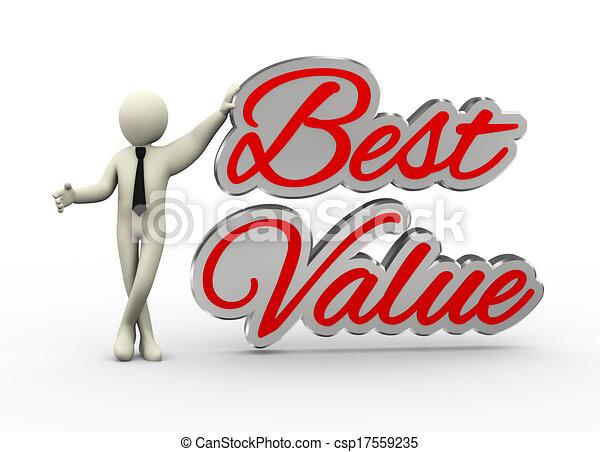 3d businessman with best value - csp17559235