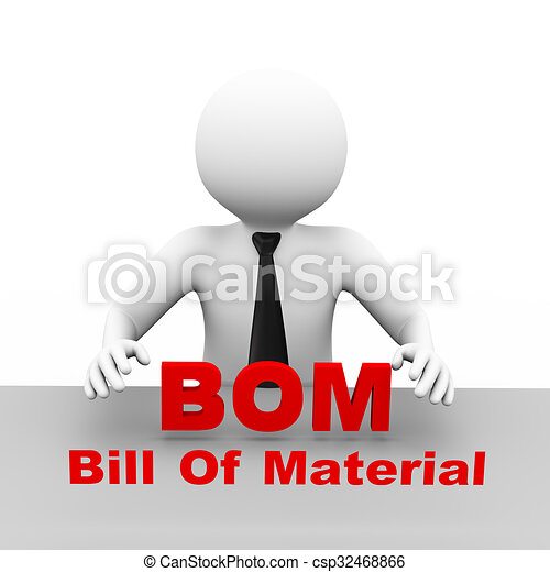 D Businessman With Bill Of Material Bom D Illustration  Stock