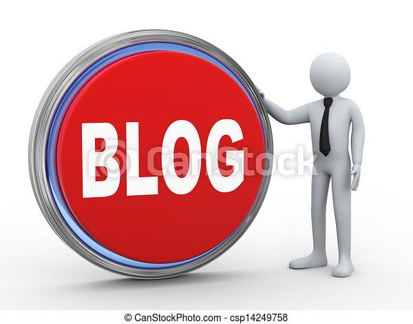 3d businessman with blog button - csp14249758