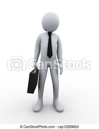 3d businessman with briefcase - csp12269624
