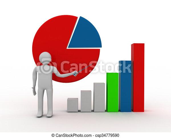 3D businessman with graph - csp34779590
