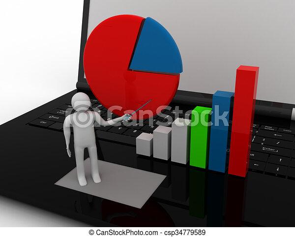 3D businessman with graph - csp34779589