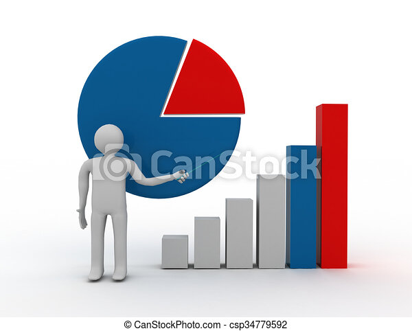 3D businessman with graph.success concept - csp34779592