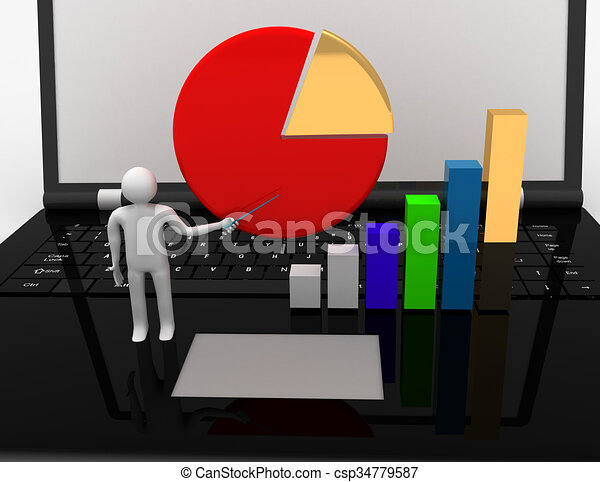 3D businessman with graph.success concept - csp34779587