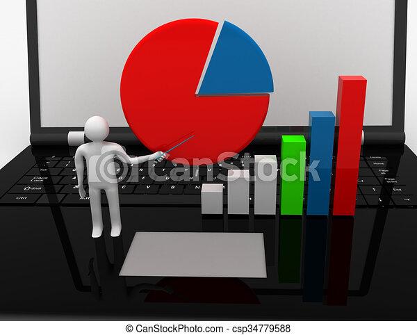3D businessman with graph.success concept - csp34779588