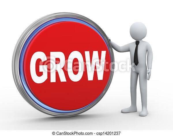 3d businessman with grow button - csp14201237