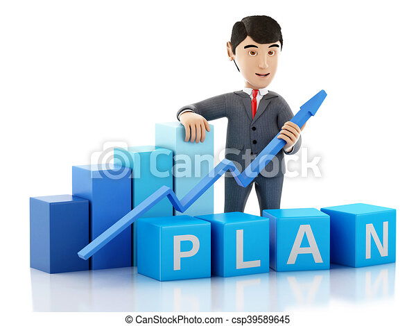 3d Businessman with growth graph and word plan. - csp39589645