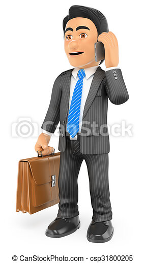 3D Businessman with his briefcase talking on the mobile phone - csp31800205