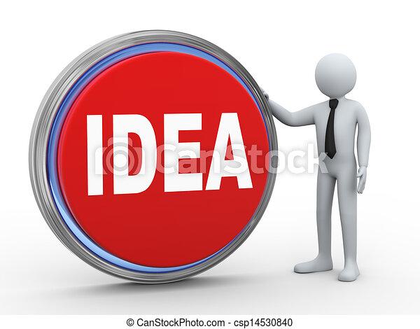 3d businessman with idea button - csp14530840