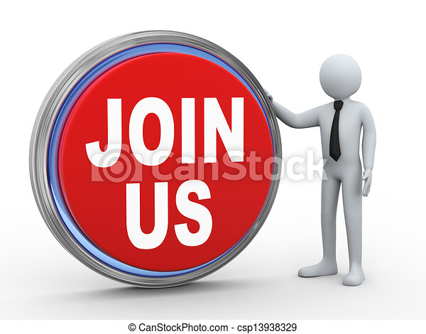 3d businessman with join us button - csp13938329