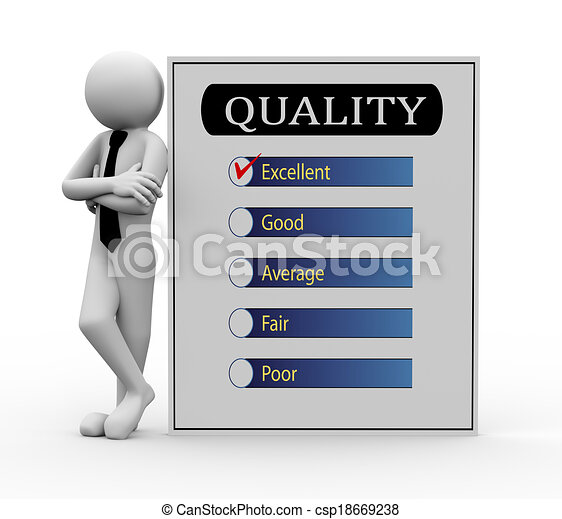 3d businessman with quality survey - csp18669238