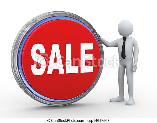 3d businessman with sale button - csp14617567