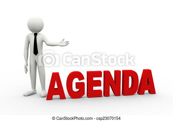 3d businessman with word agenda - csp23070154