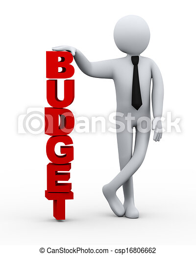 3d businessman with word budget - csp16806662