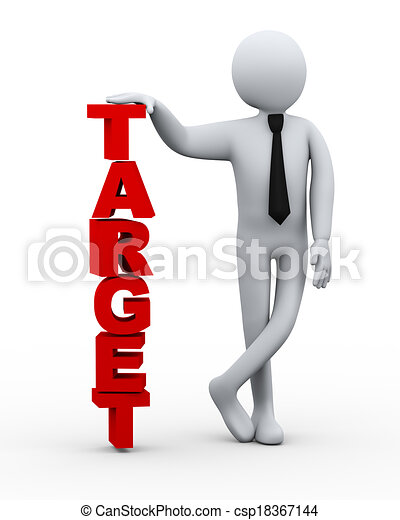 3d businessman with word target - csp18367144