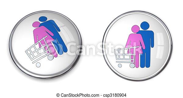 3D Button Couple Shopping - csp3180904