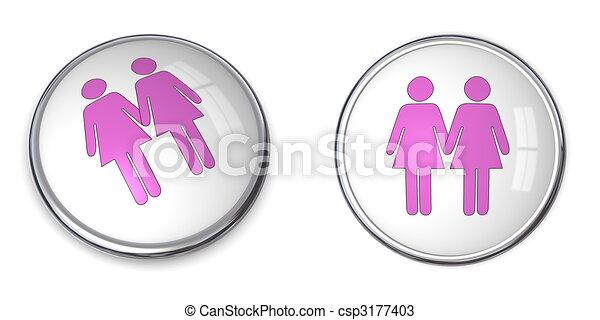 3D Button Female Couple Pictogram - csp3177403
