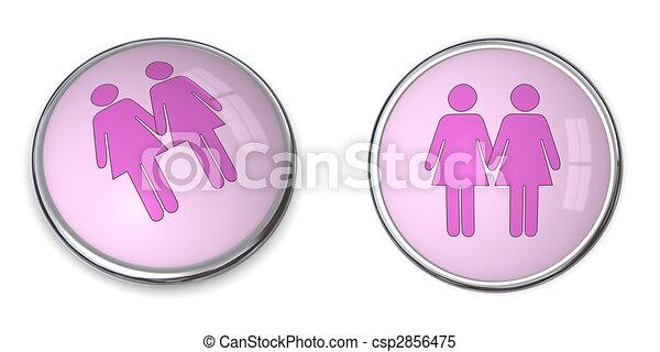 3D Button Female Couple Pictogram - csp2856475