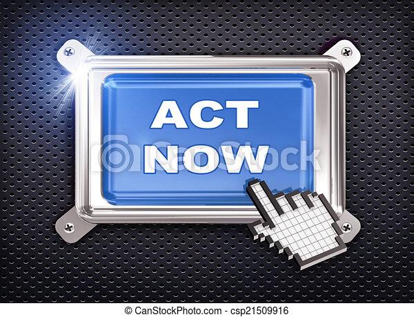 3d button hand cursor - act now - csp21509916
