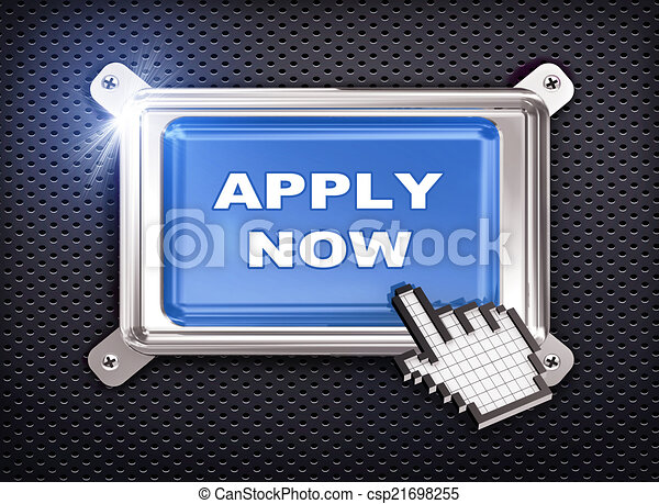3d button hand cursor - apply now - csp21698255