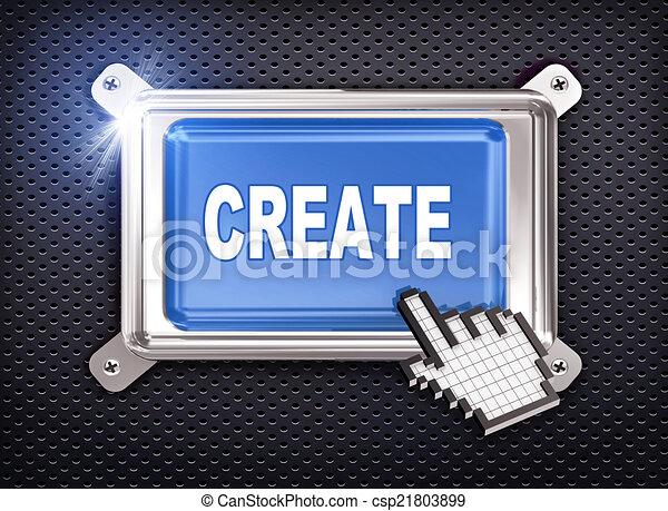 3d button hand cursor - create - csp21803899