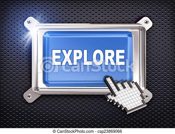 3d button hand cursor - explore - csp23869066