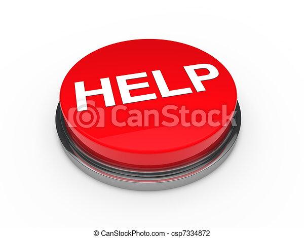 3d button help red  - csp7334872